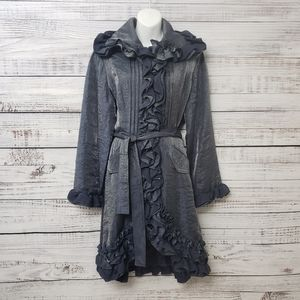 Samuel Dong Blue/Silver Ruffled Jacket Size Medium